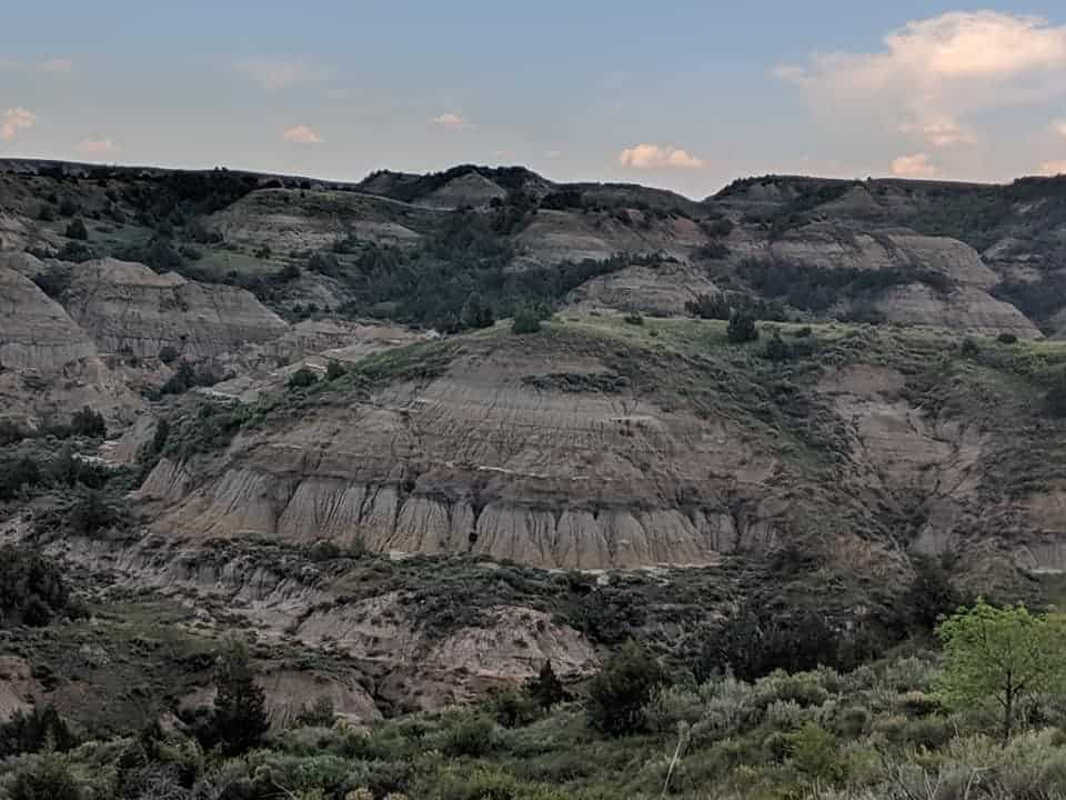 Picture of Painted Canyon in Theodore Roosevelt National Park. There are numerous hills with lines of color in greys, pinks, and oranges. They also have bushes and trees dispersed amongst them with the top of the hills having more greenery in density. The sky is bluish pink with a few clouds as it is late in the day.